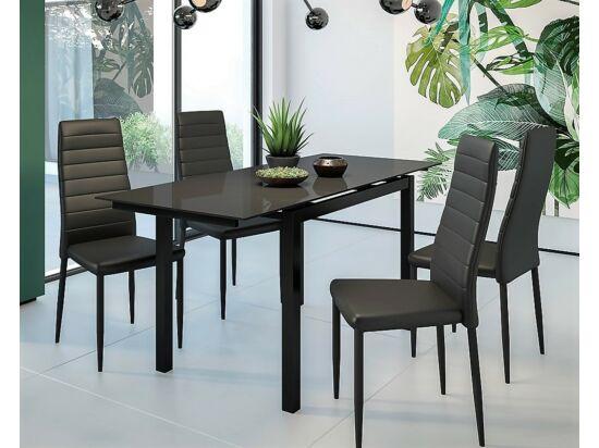 ARENA fekete asztal és 4db SILOUETTE fekete szék összeállítás