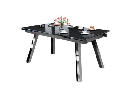 BROOKLYN 10 személyes nyitható asztal fekete márvány színű üveglappal