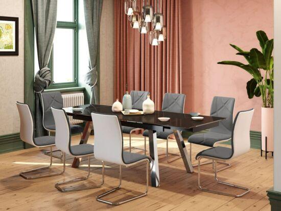 Brooklyn 10 személyes nyitható fekete asztal és 6 db szürke Deco szék összeállítás