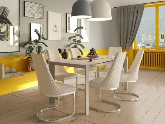 NEW YORK 8 személyes nyitható kicsi cappuccino asztal és 6 db ELEGANCE cappuccino szék összeállítás