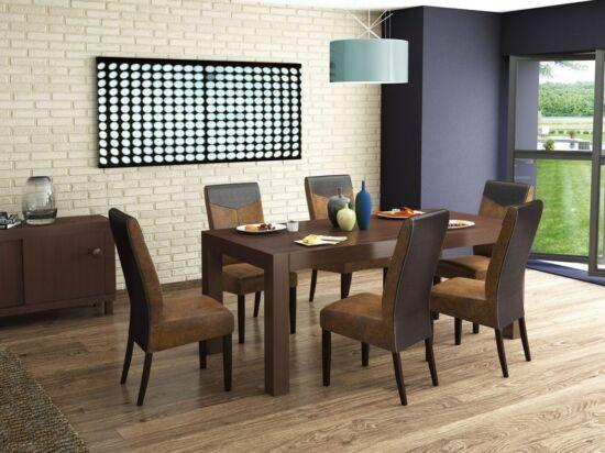 LEGANO 8 személyes nyitható asztal és 6 db LEGANO barna hasított bőr hatású szék összeállítás