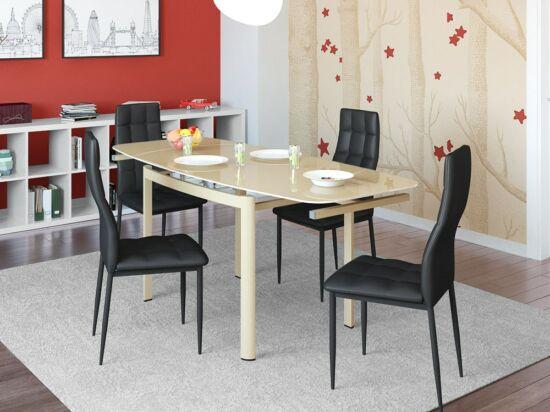 STAR 8 személyes nyitható cappuccino asztal és 4 db fekete STAR szék összeállítás.