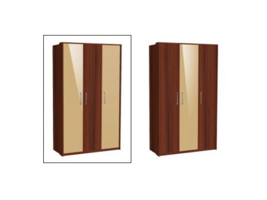 Zeppelin 3 ajtós szekrény két szélen cappuccino ajtókkal