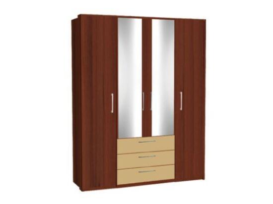 Zeppelin 4 ajtós, fiókos csokoládébarna szekrény cappuccino fiókokkal és tükörajtóval