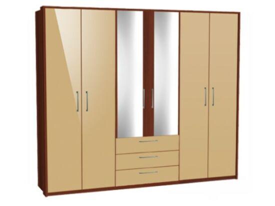 Zeppelin 6 ajtós, fiókos szekrény cappuccino fronttal és tükörajtóval