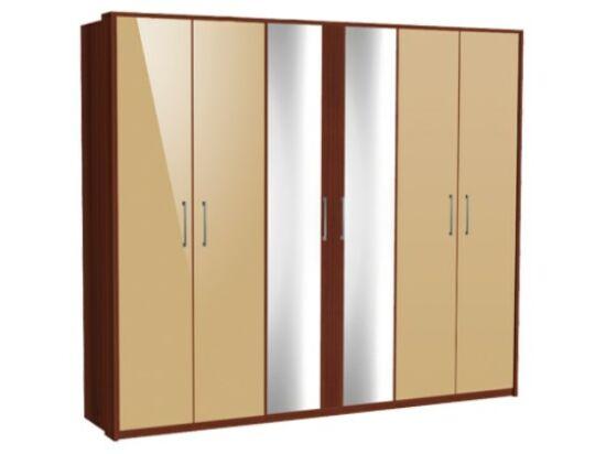 Zeppelin 6 ajtós szekrény 4 cappuccino és 2 tükörajtóval